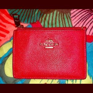Coach card holder, red, EUC!